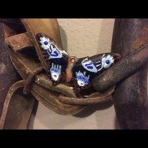 Blue enamel butterfly pendant